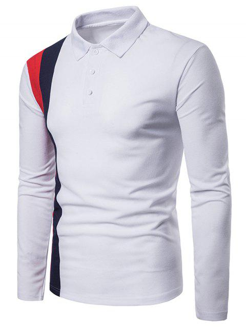 Patchwork Long Sleeve Polo Shirt - WHITE 2XL