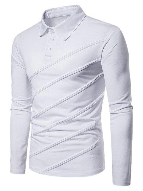 Long Sleeve Spliced Fold Design Polo Shirt - WHITE 2XL