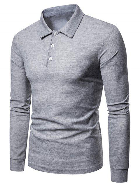 Whole Colored Polo Collar T-shirt - LIGHT GRAY L