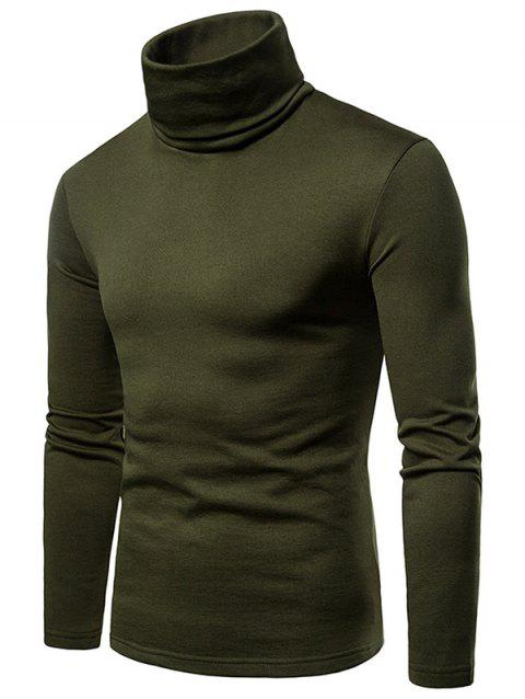 Turtle Neck Whole Colored Tee Shirt - ARMY GREEN 2XL