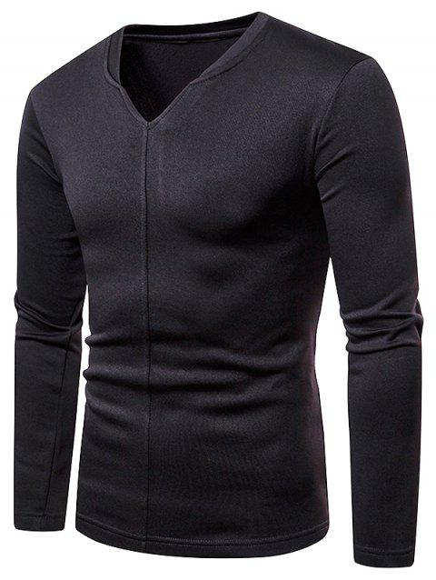 Casual V Neck Solid-colored T-shirt - BLACK L
