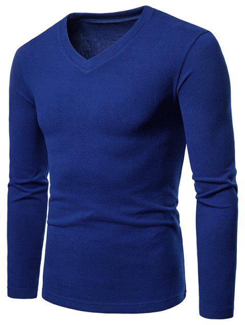Slim Fit V Neck Long Sleeve T-shirt - BLUE XL