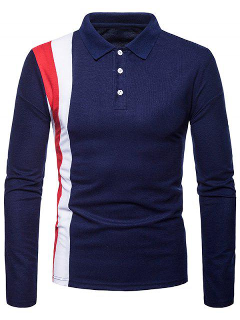 Patchwork Long Sleeve Polo Shirt - CADETBLUE 2XL