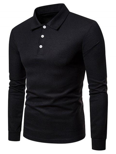Whole Colored Polo Collar T-shirt - BLACK XL