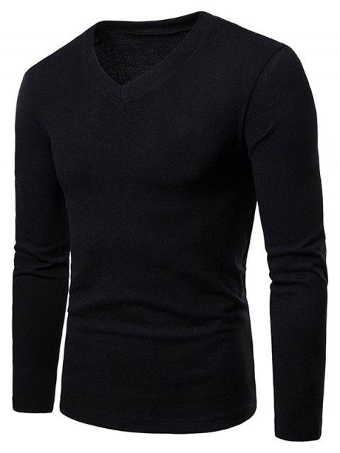 Slim Fit V Neck Long Sleeve T-shirt - BLACK L