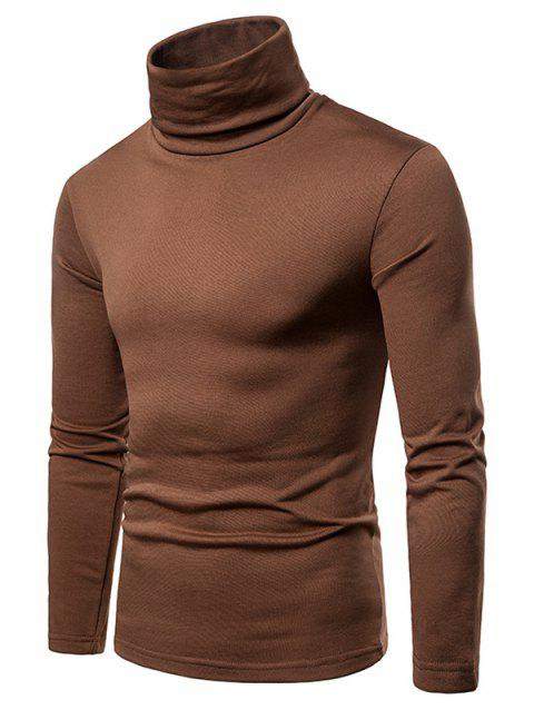 Turtle Neck Whole Colored Tee Shirt - BROWN L