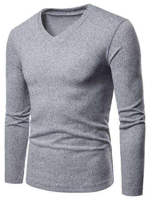 Slim Fit V Neck Long Sleeve T-shirt - LIGHT GRAY XL