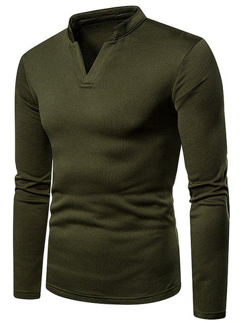 Long Sleeves V Neck Solid Color Fleece T-shirt - ARMY GREEN XL