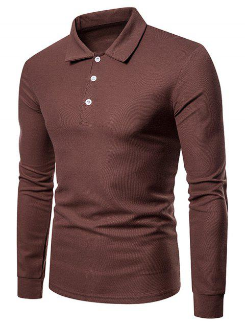 T-shirt en Couleur Unie à Col Polo - Brun XL