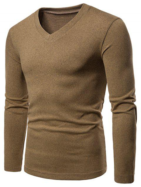 Slim Fit V Neck Long Sleeve T-shirt - BROWN XL