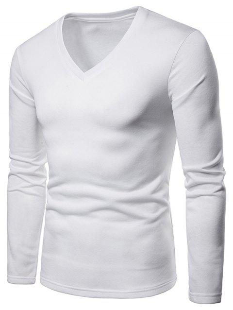Solid Color V Neck Fleece Warm T-shirt - WHITE XL