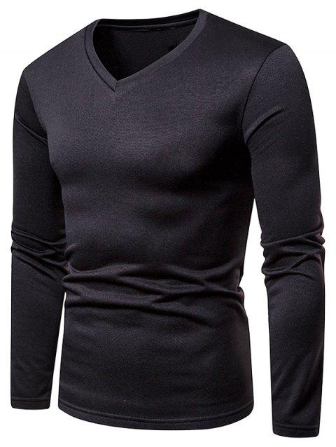 Solid Color V Neck Fleece Warm T-shirt - BLACK L
