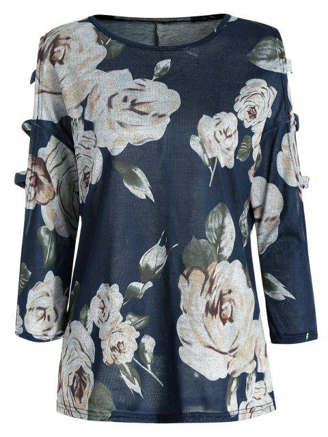 Floral Print Slashed Sleeve Blouse - multicolor XL