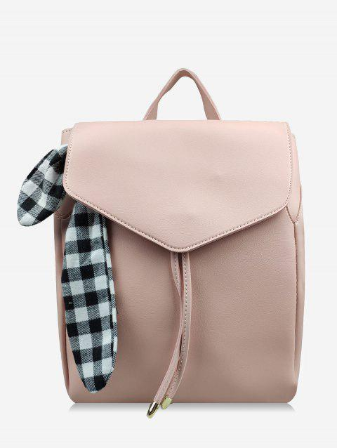 Checked Bowknot String Design Backpack - LIGHT KHAKI