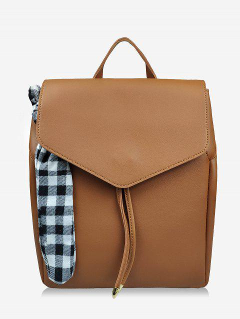 Checked Bowknot String Design Backpack - BROWN