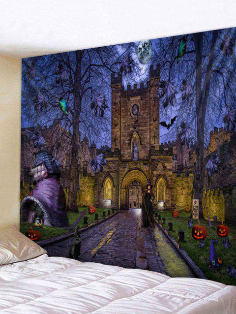 Halloween Castle Path Print Tapestry Wall Art - multicolor W91 X L71 INCH