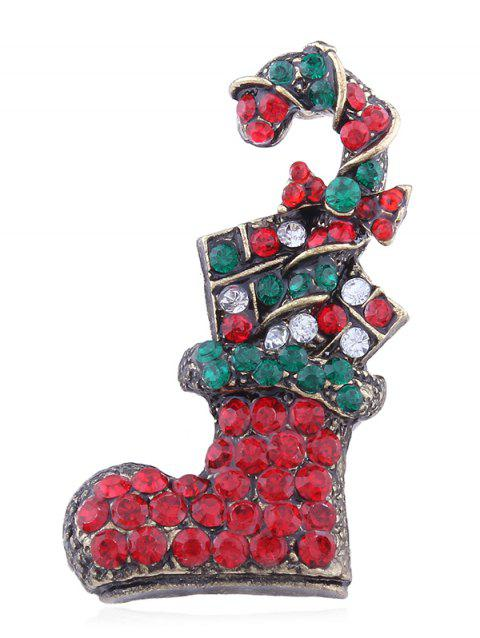 Christmas Sock Rhinestone Decorative Brooch - multicolor