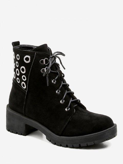 Lace Up Grommet Suede Ankle Boots - BLACK EU 39