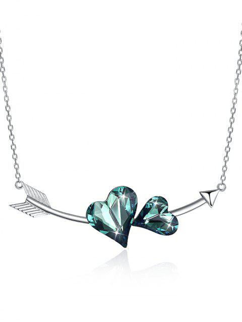 Crystal Heart Arrow Silver Necklace - DARK TURQUOISE