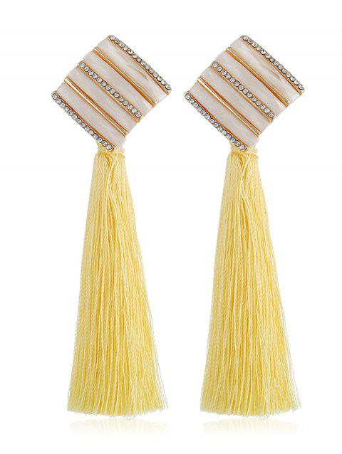 Vintage Long Tassel Striped Drop Earrings - CORN YELLOW