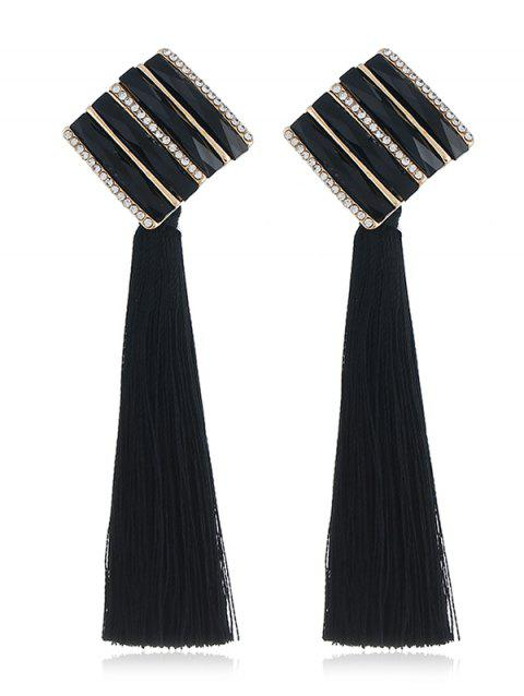 Vintage Long Tassel Striped Drop Earrings - BLACK