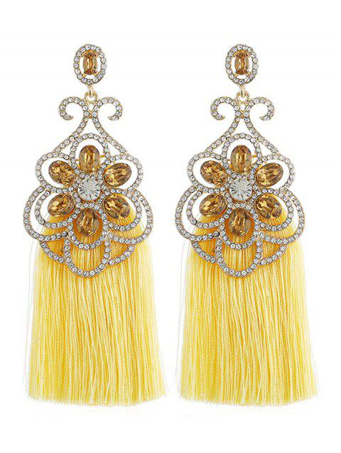Rhinestone Inlaid Tassel Bohemian Earrings - YELLOW