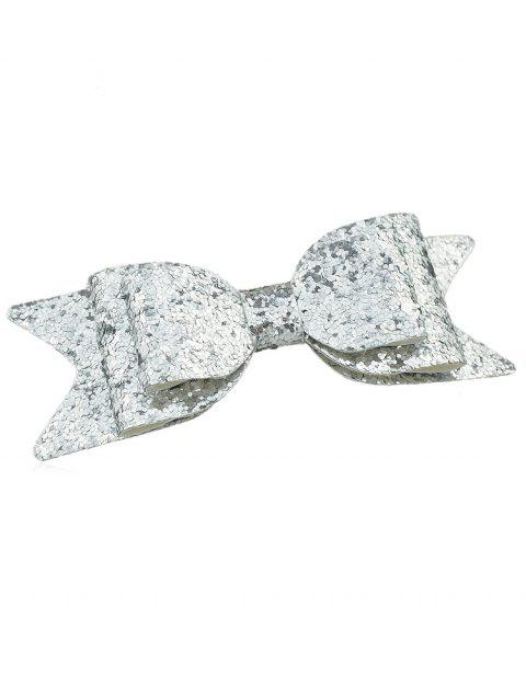Unique Sparkly Bowknot Hair Barrette - SILVER