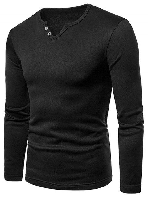 Solid Color Notch Neck Warm T-shirt - BLACK L
