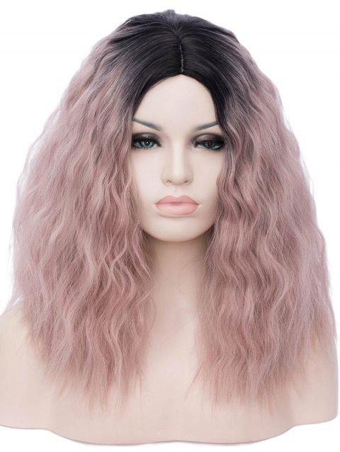Side Parting Ombre Natural Wavy Medium Party Synthetic Wig - multicolor