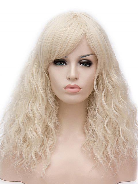 Long Inclined Bang Natural Wavy Cosplay Synthetic Wig - BEIGE
