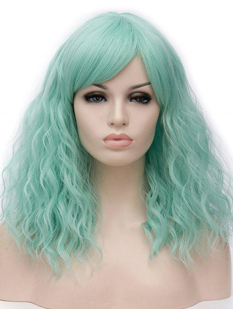 Long Inclined Bang Natural Wavy Cosplay Synthetic Wig - MEDIUM TURQUOISE
