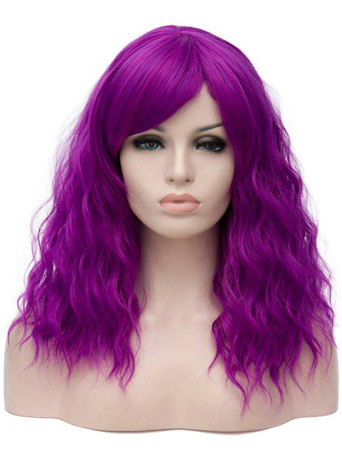 Long Inclined Bang Natural Wavy Cosplay Synthetic Wig - PURPLE FLOWER