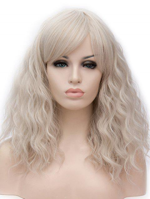 Long Inclined Bang Natural Wavy Cosplay Synthetic Wig - WARM WHITE