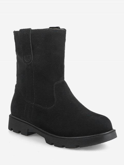 Plus Size Round Toe Suede Short Boots - BLACK EU 36