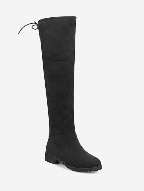 Plus Size Drawstring Suede Over the Knee Boots - BLACK EU 43