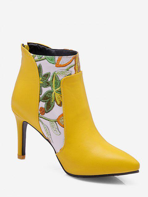 Plus Size Embroidered Stiletto Heel Ankle Boots - BEE YELLOW EU 41