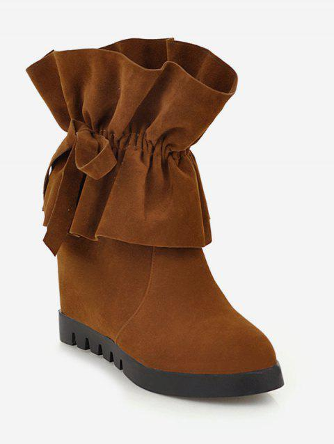 Plus Size Ruched Hidden Heel Suede Boots - LIGHT BROWN EU 38
