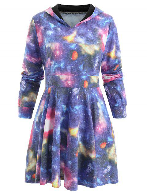 Long Sleeve Planet Hoodie Dress - ROYAL BLUE M