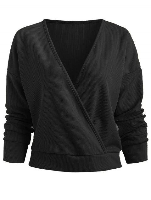 Plunge Ribbed Surplice Knitwear - BLACK XL