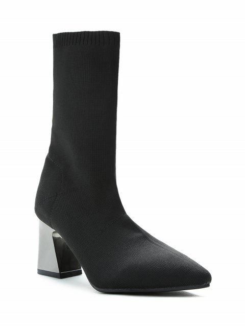 Pointed Toe Sock Mid Calf Boots - BLACK 37