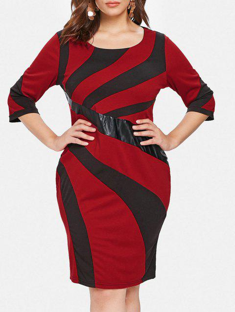 Plus Size Two Tone Tight Bodycon Dress - RED 3X
