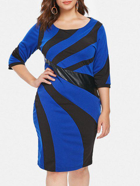 Plus Size Two Tone Tight Bodycon Dress - BLUEBERRY BLUE L