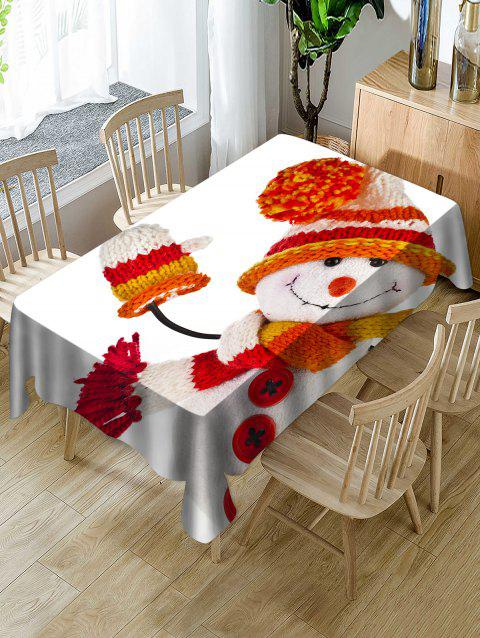 Christmas Snowman Print Waterproof Tablecloth - WHITE W54 X L72 INCH