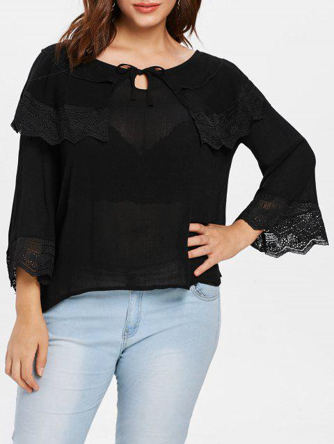 Lace Panel Plus Size Round Neck Blouse - BLACK 1X