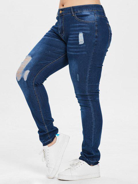 High Waist Distressed Plus Size Jeans - DENIM DARK BLUE 2X