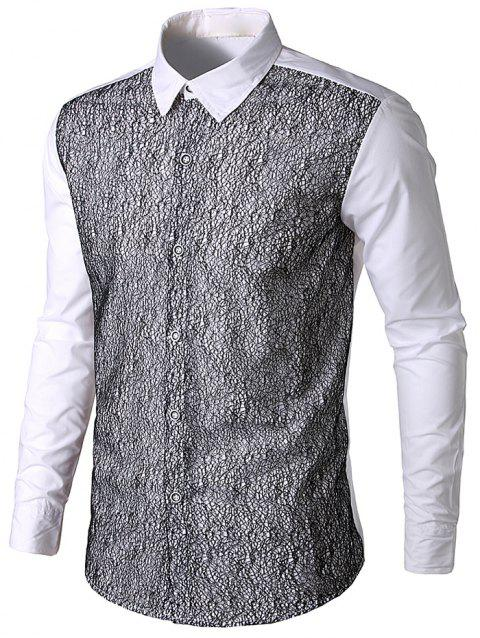 Front Mesh Embellished Button Up Shirt - WHITE M