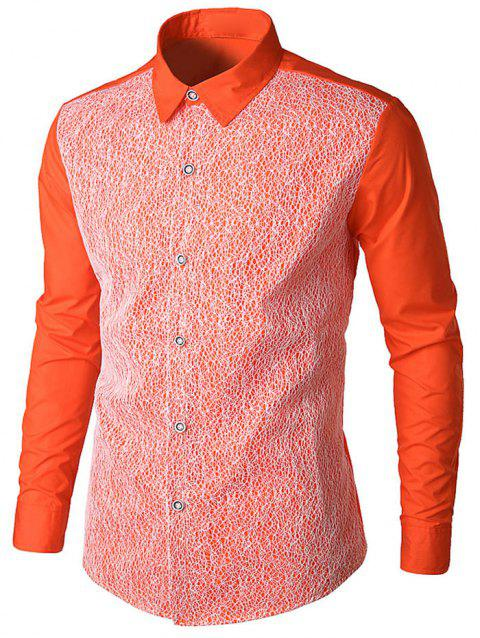 Front Mesh Embellished Button Up Shirt - ORANGE L