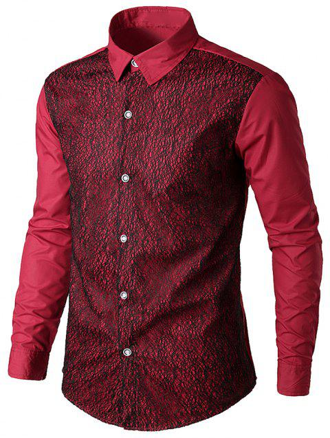 Front Mesh Embellished Button Up Shirt - RED WINE XL