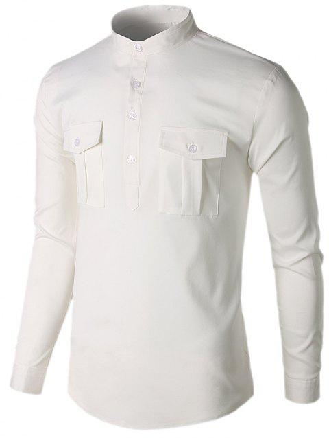 Stand Collar Casual Pockets Shirt - WHITE XL