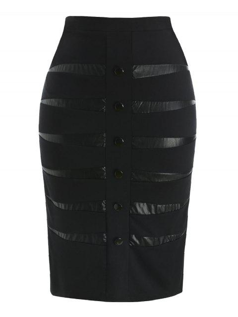 Plus Size PU Detail Skirt - BLACK L